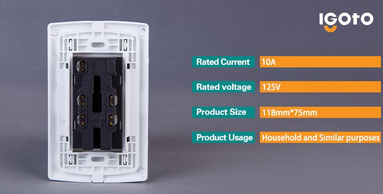 Igoto American Standard Wall Socket 6 Pins Triplex Receptacle Wall Socket