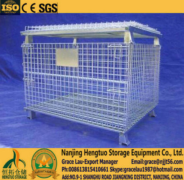 Foldable, Stackable Galvanized Metal Cages, Wire Mesh Pallet Cage, Mesh Pallet Cages Container for Warehouse Storage