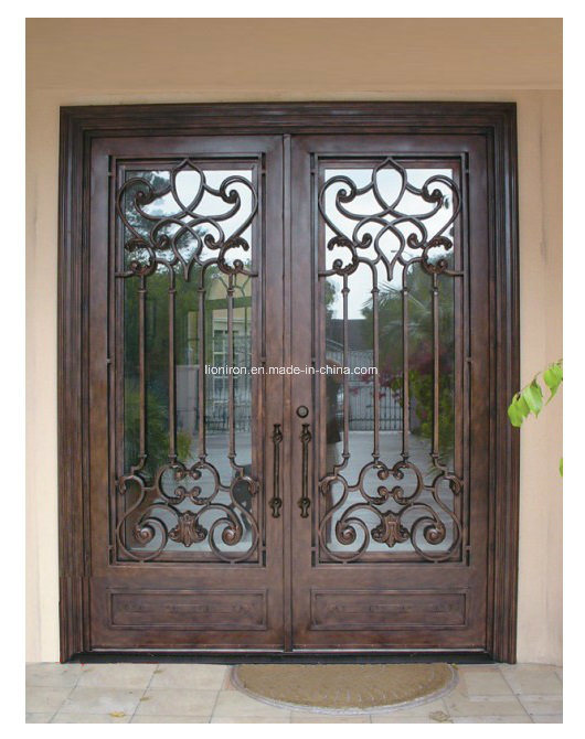 Exterior Decorative Security Door with Wrought Iron and Glass