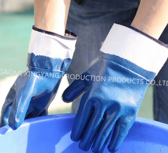 Cotton Jersey Shell Nitrile Coated Safety Work Gloves (N6001)