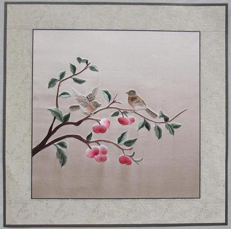 Wall Art Flowers And Birds : China hand made silk embroidery flowers and birds wall