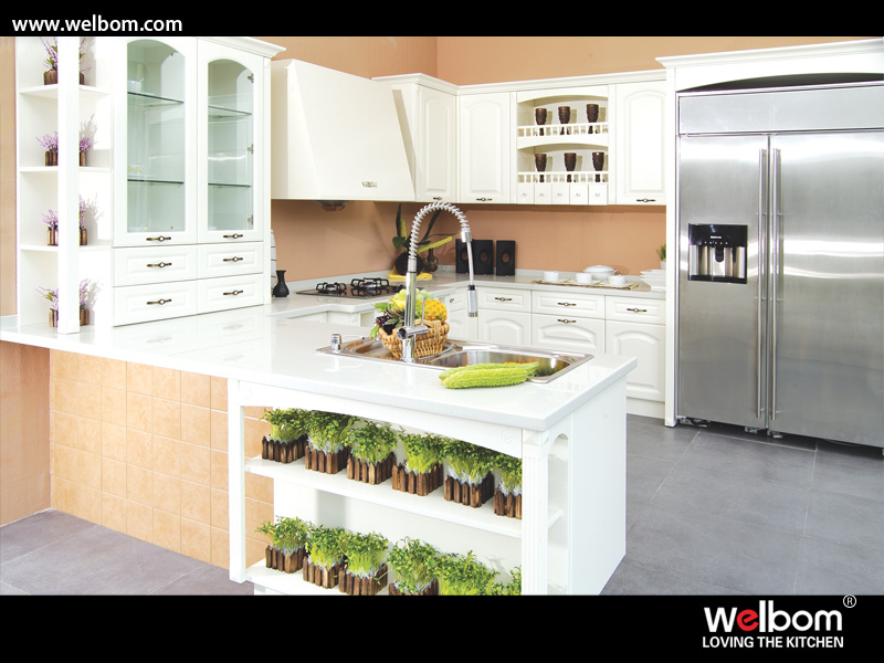 2015 Welbom Italian Style Custom White Wood Kitchen Furniture