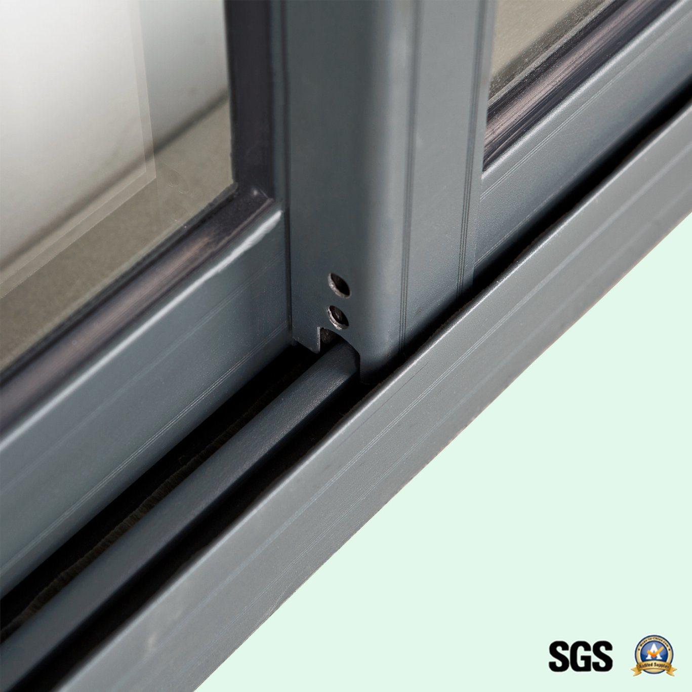 Grey Colour Powder Coated Crescent Lock Aluminum Sliding Window K01071
