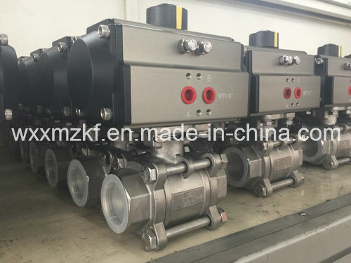 Stainless Steel 3PC Ball Valve with Pneumatic Actuator