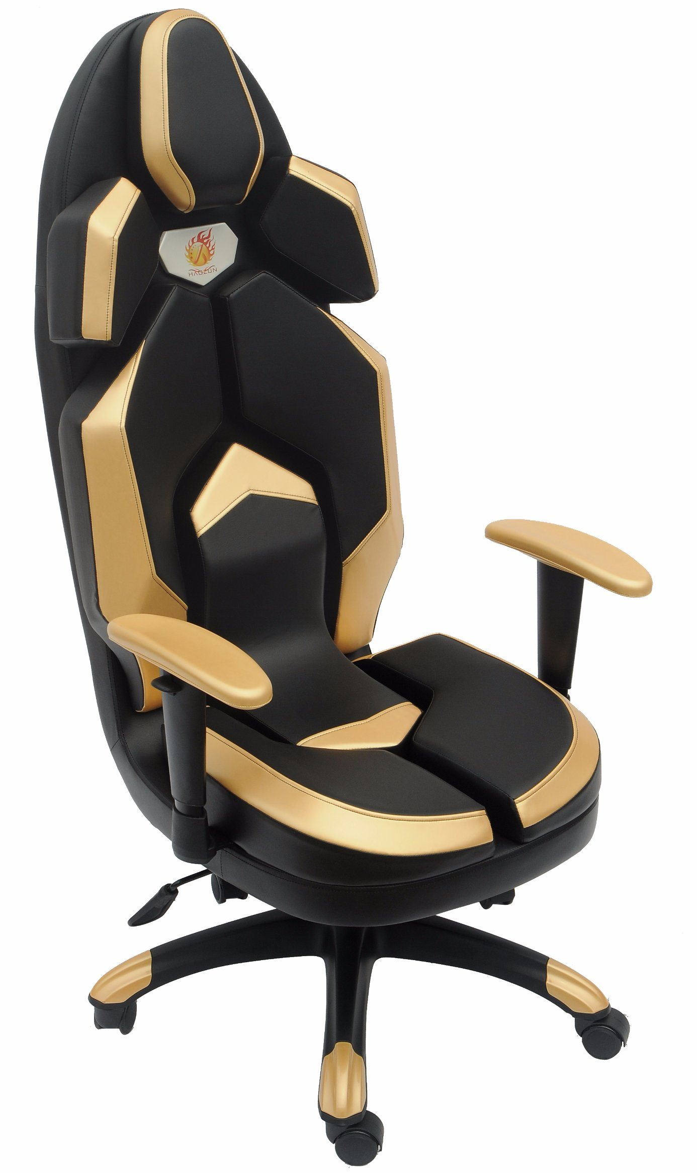 Golden Leather Racing Computer Chair Swivel Lift