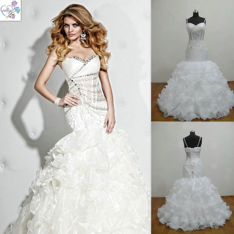 China sweetheart sexy organza spaghetti strap beaded real for Hot dresses for weddings