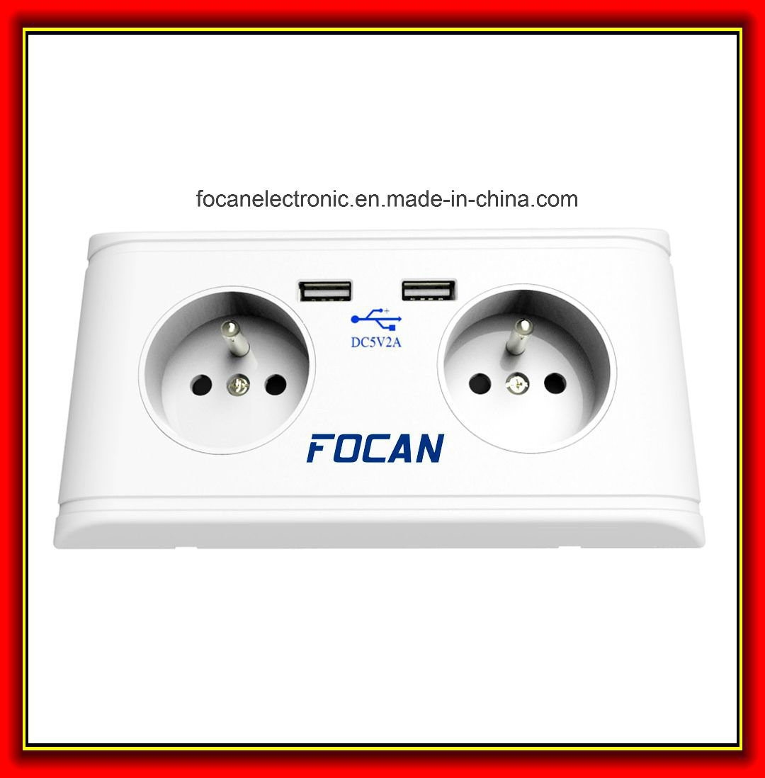 France CE 5V 2A USB Wall Socket with Double USB Charging Ports for UK 3 Pin Plug Using