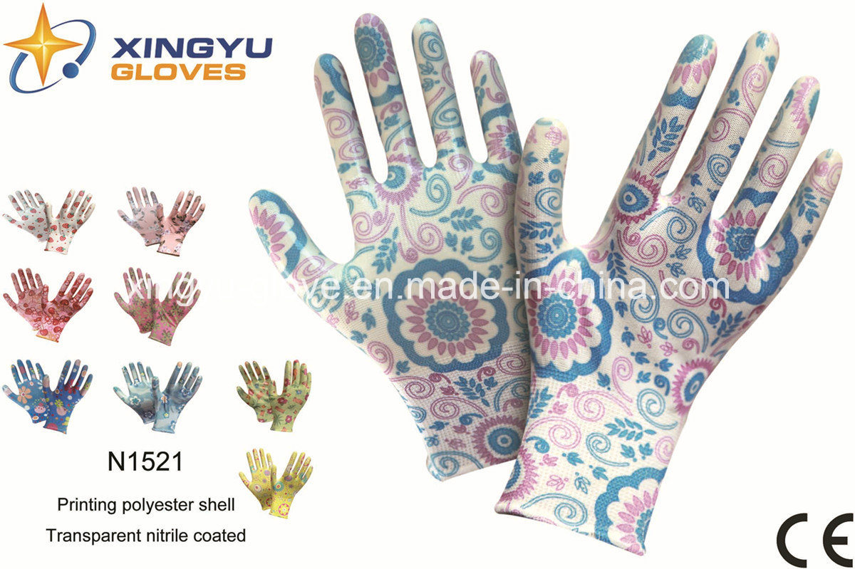 Polyester Shell Nitrile Coated Safety Work Gloves (N1521)
