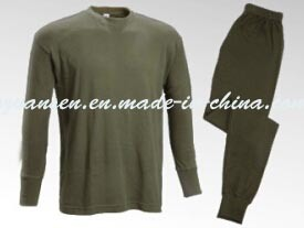 Winter Underwear Suit Thermal in Oliva Green with Simple Classic Design
