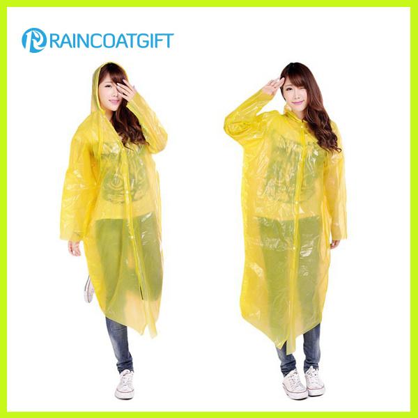 Women′s Yellow PE Disposable Raincoat Rpe-150