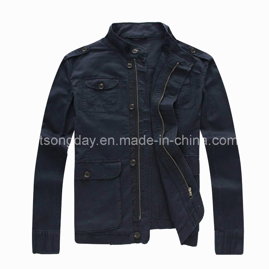 Outdoor Linen Cotton Men′s Casual Black Jacket (9094)