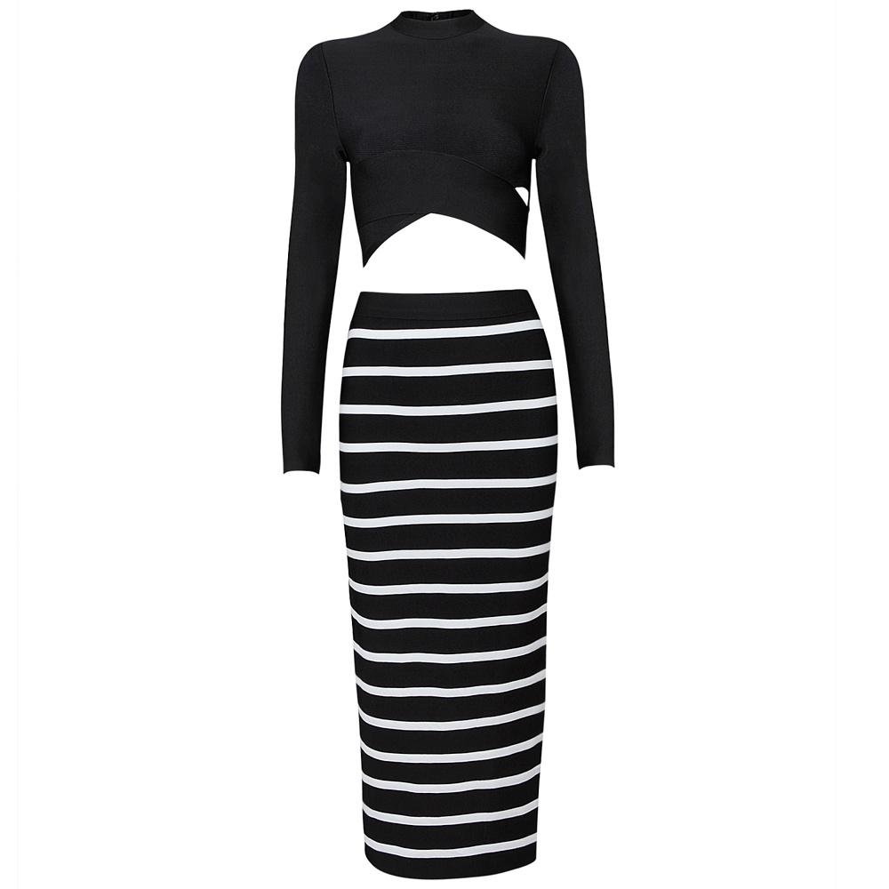 Long Sleeve Zebra Stripe Package Hip Medium Wedding Dress (2 pieces)