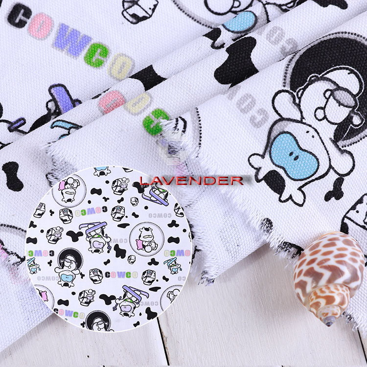 Cartoon Cow Patterns 250GSM Textile Canvas Fabric