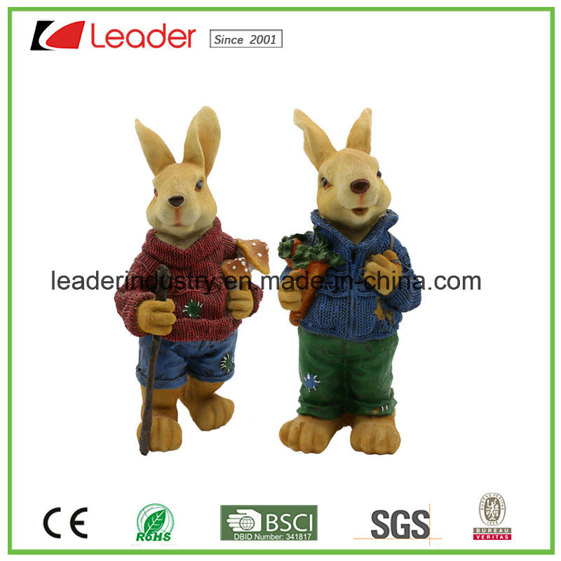 Lovely 43cm Rabbit Resin Statue Garden Ornament for Home and Lawn Deocration