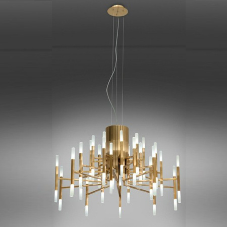 Contemporary Gold Glossy Indoor LED Pendant Lights Lamp Lighting Chandelier in 24-Lights, 24W, 3000k, for Living Room