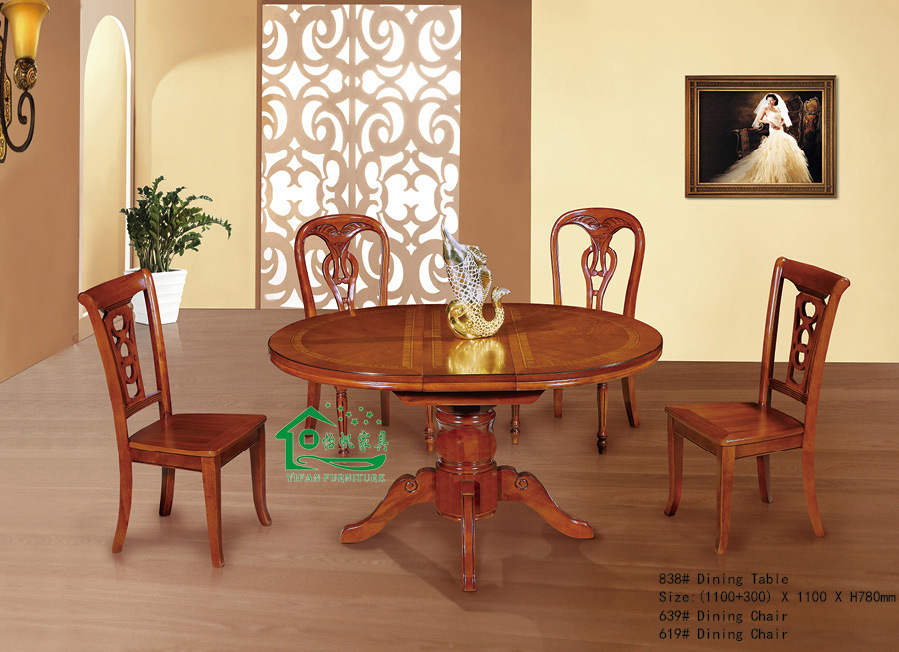 China oak wood round dining table dining chair yf ax838 for Wooden dining room chairs
