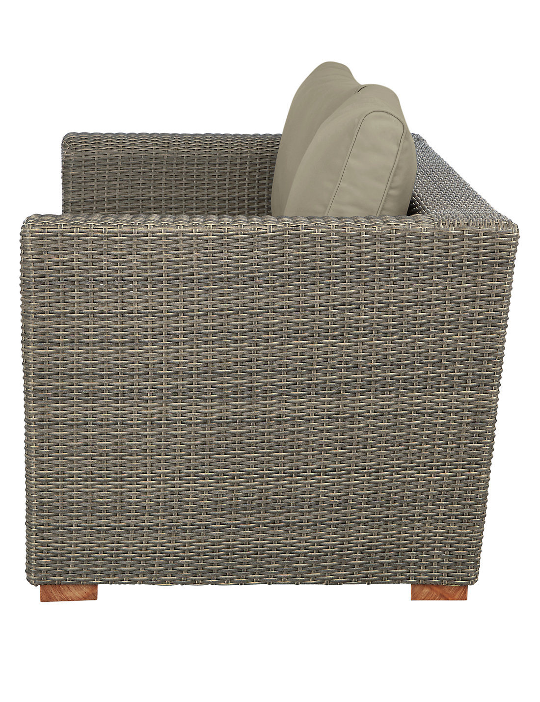 Well Furnir Grey Color Rattan Sofa with Waterproof Cushion