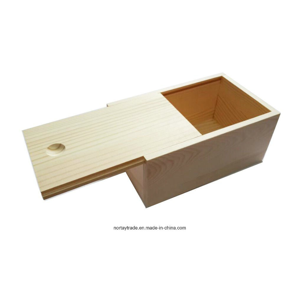 Unfinished Pine Wood Box with a Sliding Lid