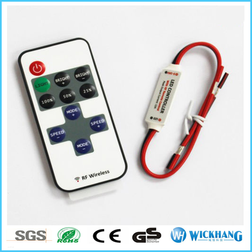 Mini LED Dimmer RF Wireless Controller for Single Color LED Strip Light DC 5-24V
