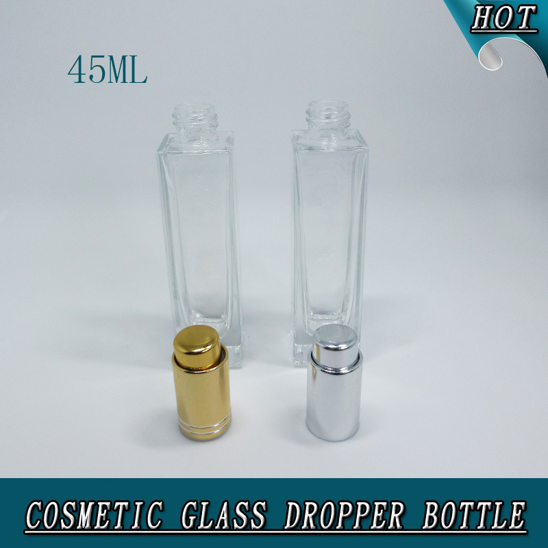45ml Luxury Rectangle Clear Glass Silver Press Pump Dropper Bottle with Pipettes
