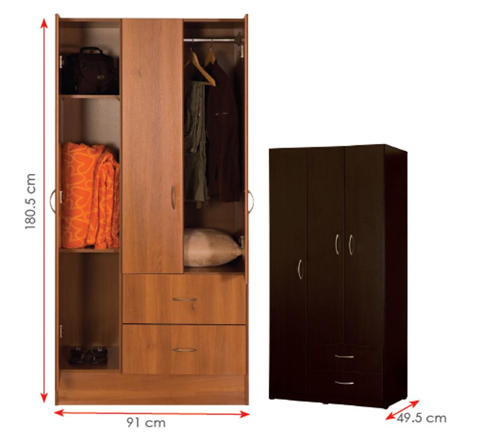 Melamine Laminated MFC Clothes Storage Cabinet Wooden Wardrobe (HX-DR339)