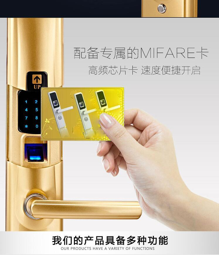 Electric Fingerprint Function Waterproof Door Lock with Motor Password Unlock