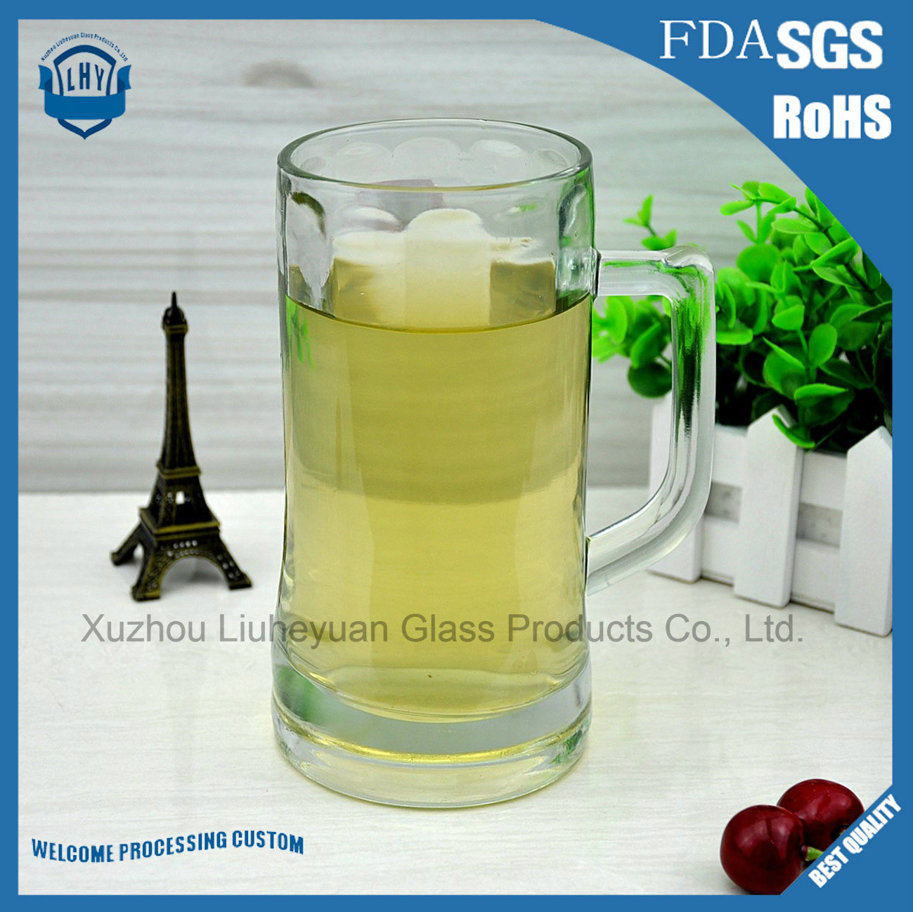 600ml High Grade Glass, High Clear, Beer Glass Cup with Handle