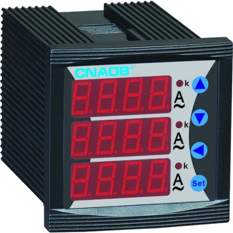 Three Phase Digital Ammeter with Alarm Size 48*48 AC5a CT Adjustable