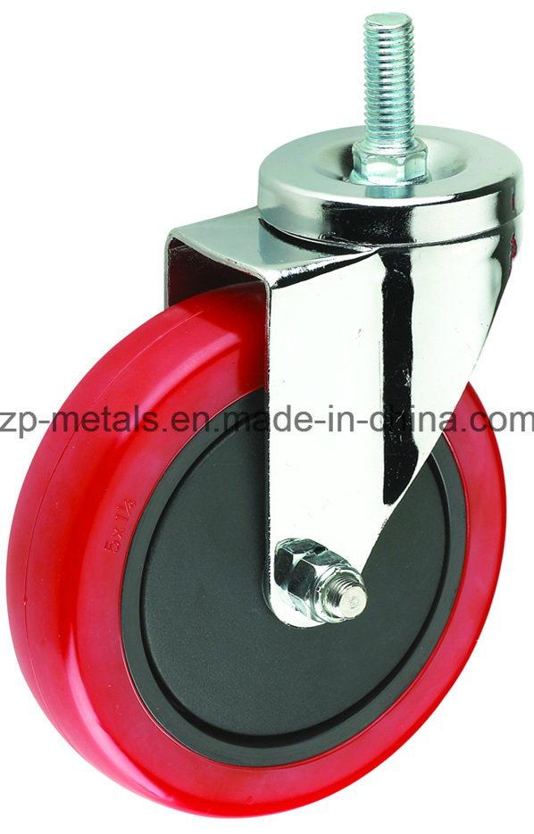 3inch Medium-Duty Red PVC Screw Caster Wheel