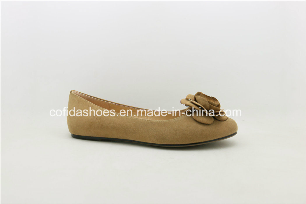 Latest Soft Flat Leather Women Ballerina Pump Shoes