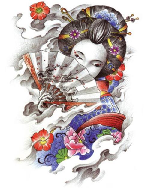 Beauty Geisha Girl Temporary Waterproof Tattoo Sticker Art Tattoo