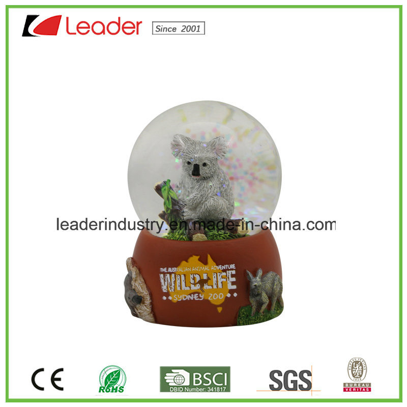 65mm Polyresin Building Water Ball with Snow for Tourist Gifts
