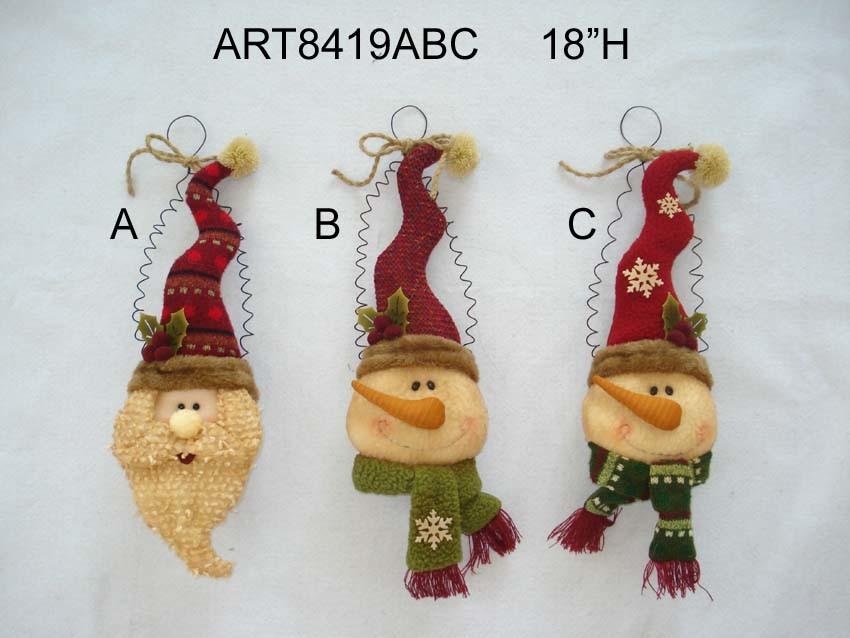 Christmas Santa, Snowman Head Christmas Decoration Ornament, 3asst