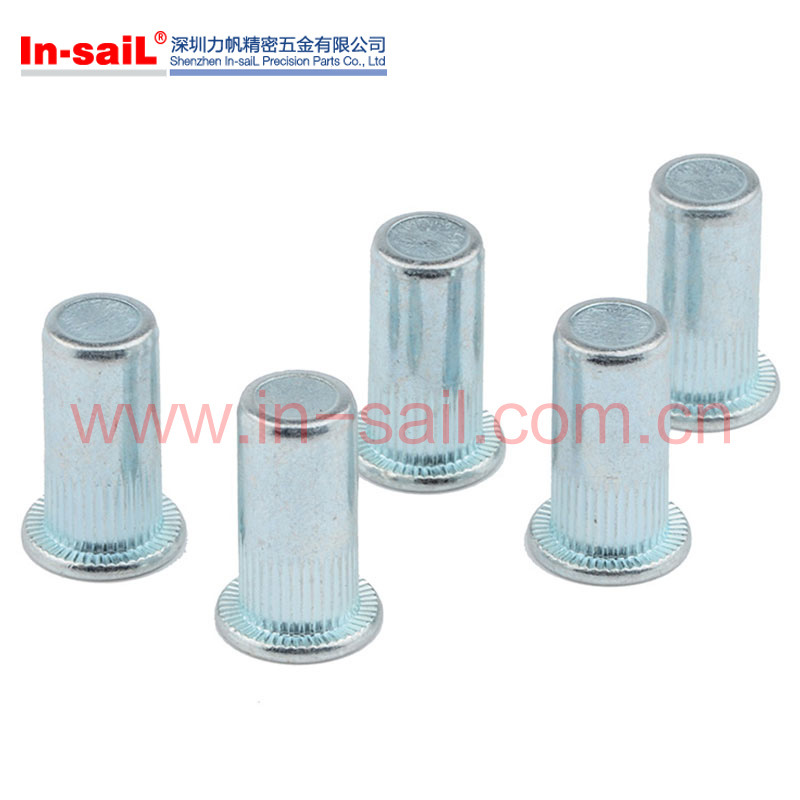 Flat Flange Head Brass Customized Knurled Body Blind Rivet Nut