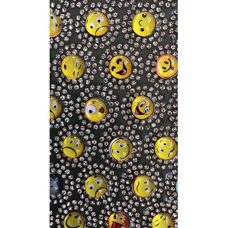 2017 Latest Smiley Face Emoji Rhinestone Transfer Glass Bead Motif Hot Fix Glass Bead Sheets (TM-smiley)