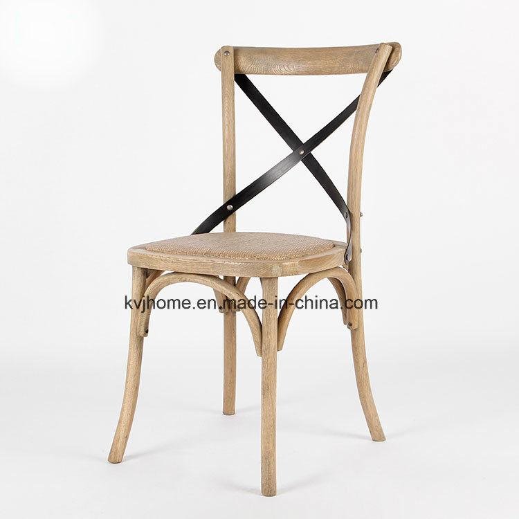 Vintage Oak Wood Metal Cross Back Dining Chair (UF-205)