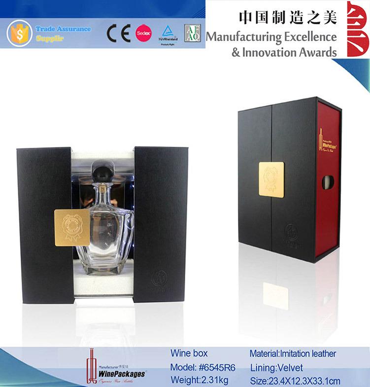 Luxury Red and Black PU Leather LED Rail Slide Wine Box (6545)