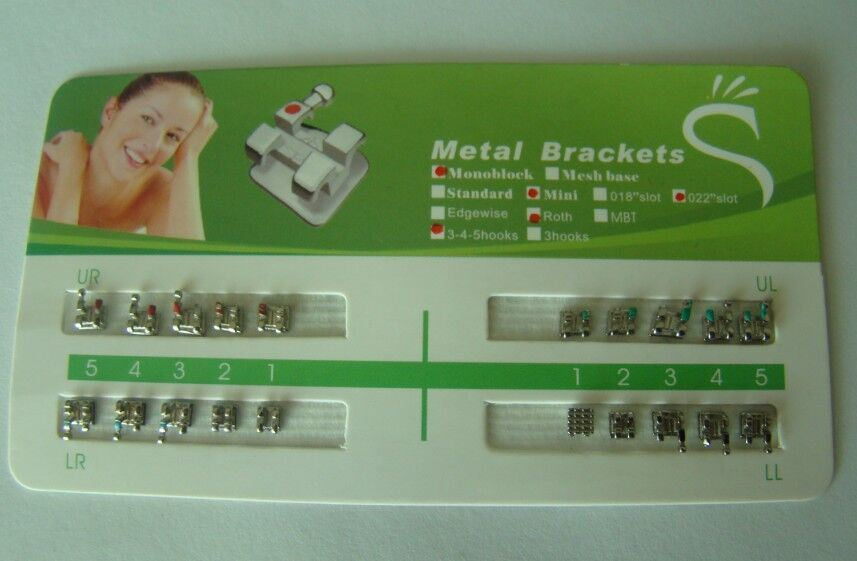 Dental Orthodontic Metal Brackets Braces Mini Roth 018 3 Hooks