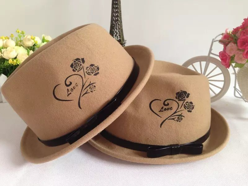 Fashion Fedora Wool Felt Hat for Women and Men with Leather