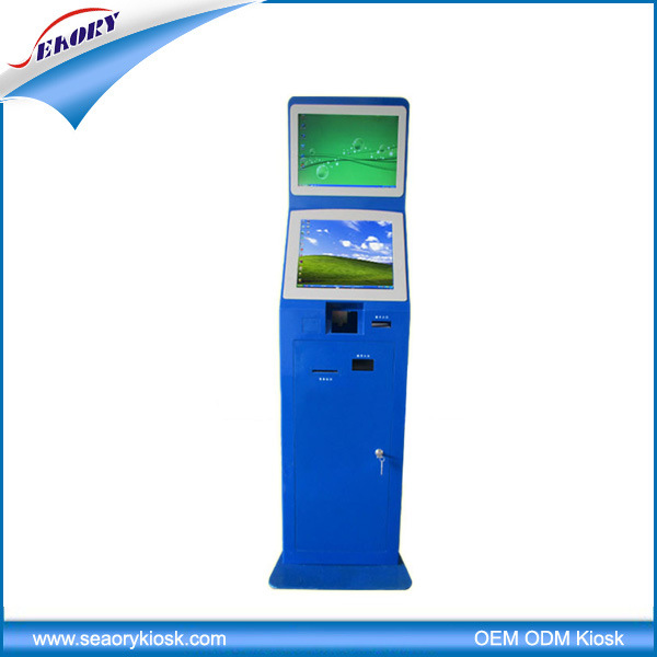 Dual Screen Lobby Standing Self-Service Payment Terminal Kiosk