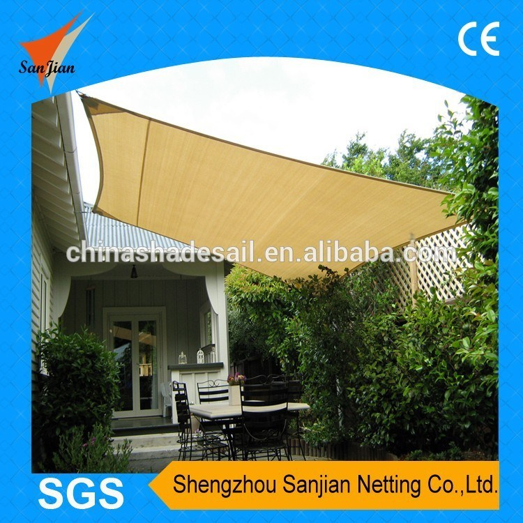 3.6X3.6m 100% New HDPE Fabric Garden Sun Shade Sail for Sand Color (Manufacturer)