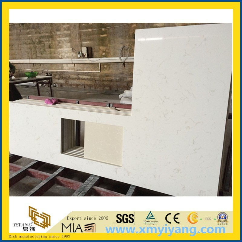 White Quartz Vanity Top for Bathroom, Hotel