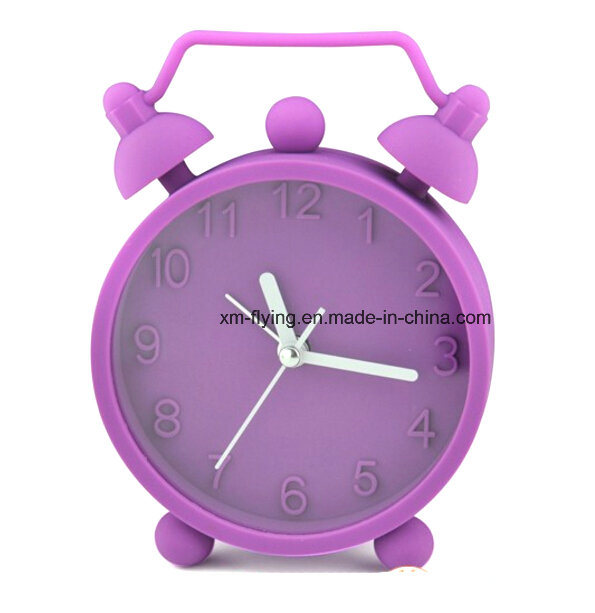 Unbreakable Fluorescent Color Twin Bell Snooze Mute Silicone Mini Table Alarm Clocks