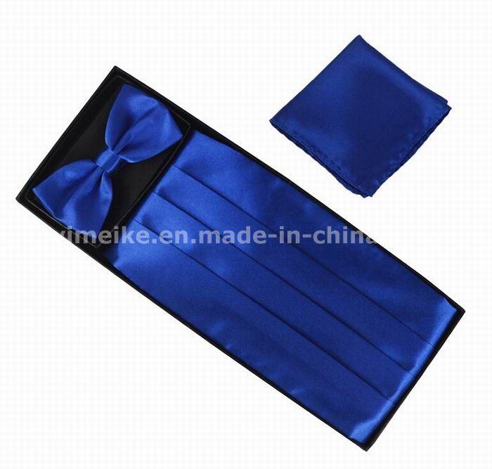 New Gentle Men Dress Adjustable Polyester Silk Waist Cummerbund Bowtie Hanky Set