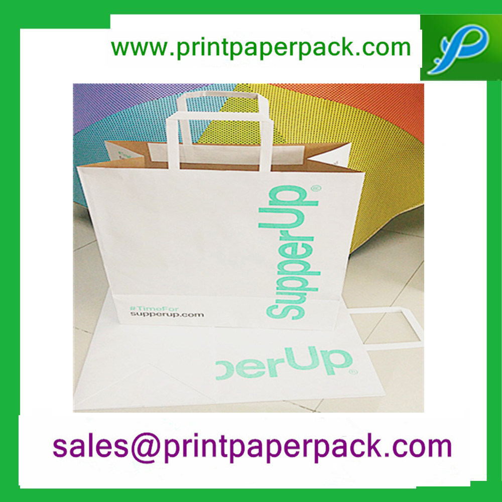 Custom Kraft Paper Carrier Bags with Flat Handles
