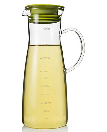 1000ml High Borosilicate Cold Drink Glass Kettle with Lid Glass Pitcher