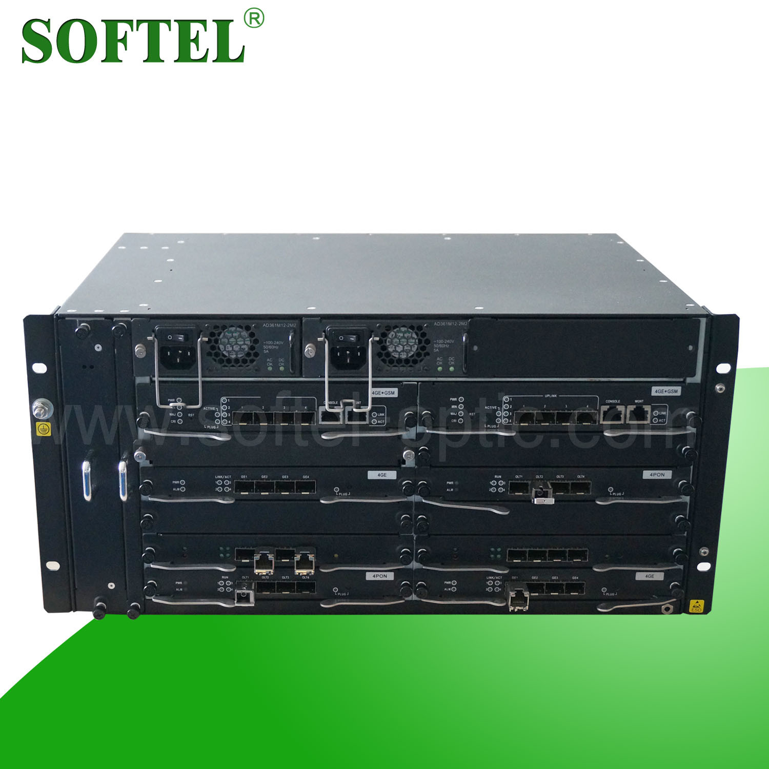 High Quality 5 U Epon Olt with Max 40 SFP Pon Ports 1.25 Gbps Optical Gepon Olt, FTTX Optical Line Terminal in 2014