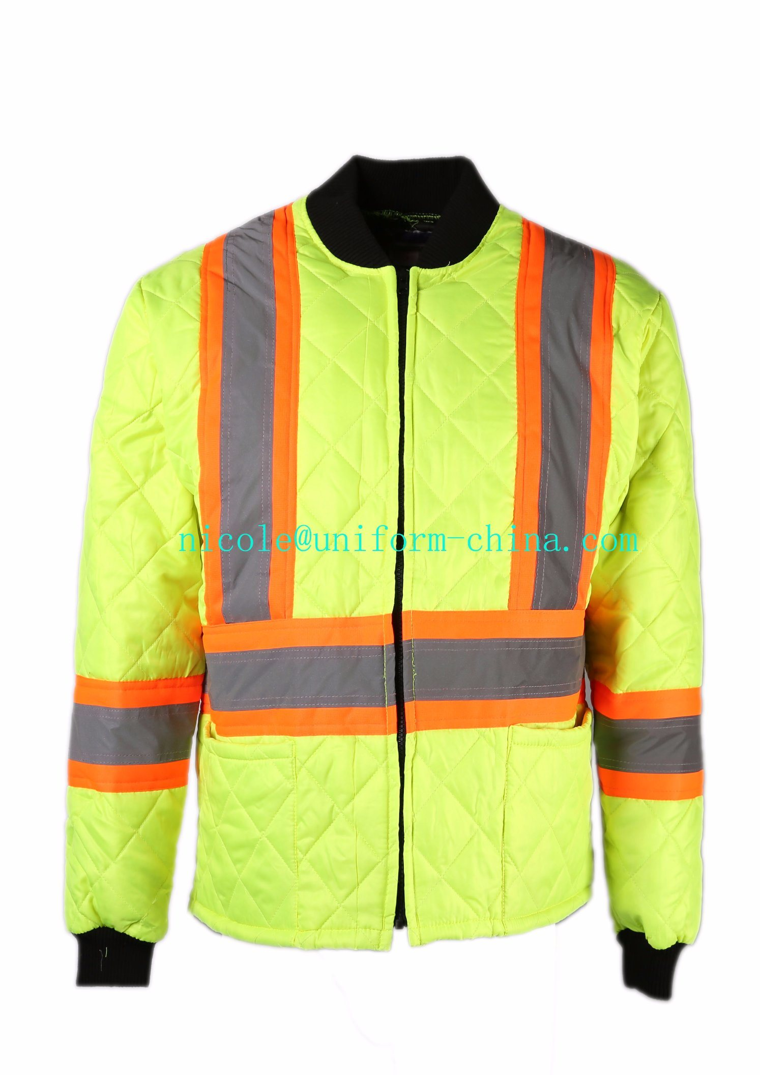 Hi-Vis Yellow Working Safety Winter Thermal Warm Quilted Freezer Jacket with Reflective Tape