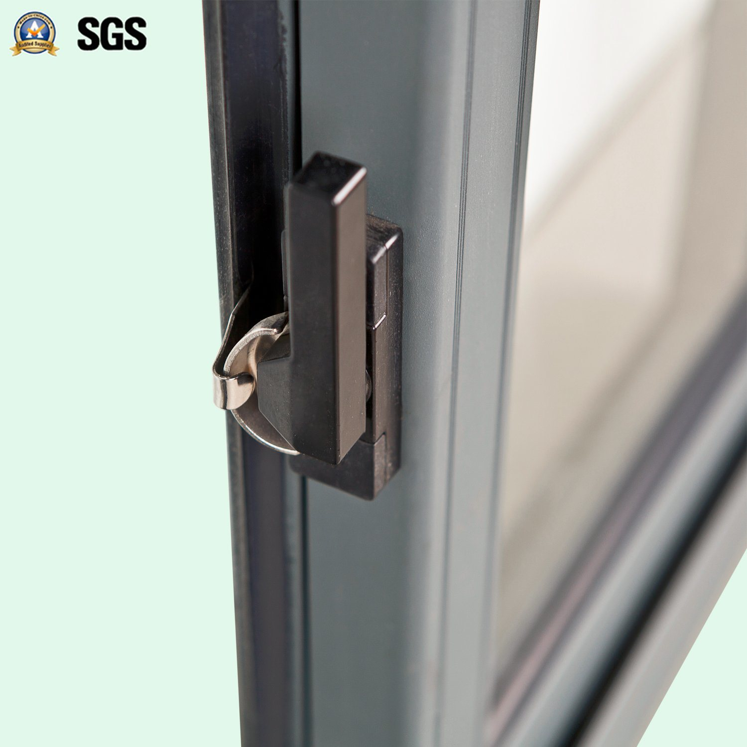 Grey Colour Powder Coated Crescent Lock Aluminum Sliding Window K01071