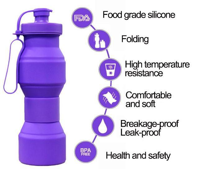 Outdoor Silicone Folding Sports Water Bottle BPA Free